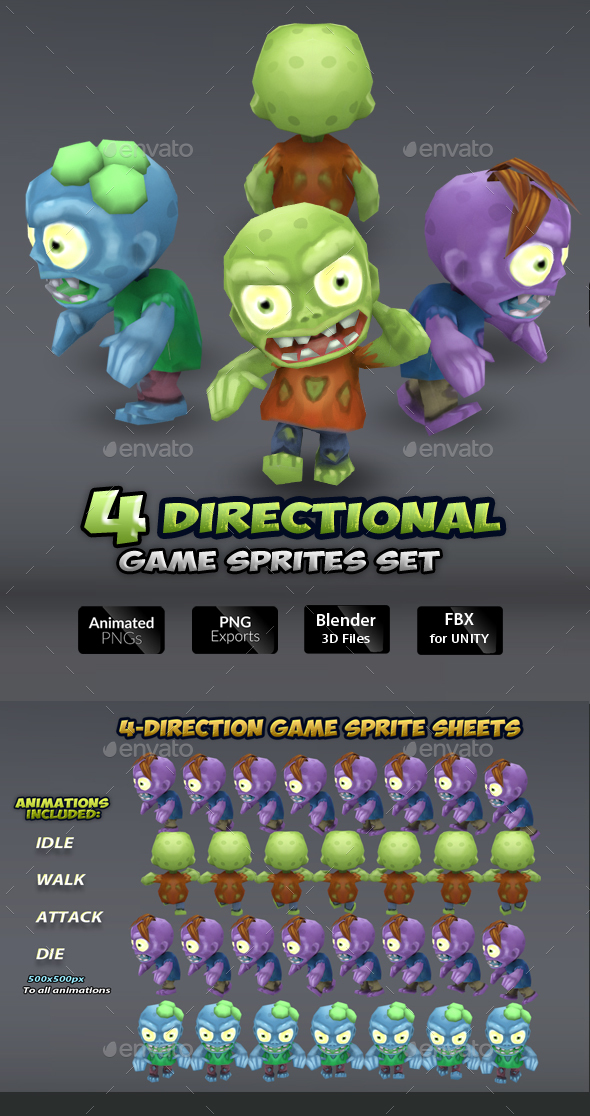 4-Directional Zombie Game Character Sprites - Sprites Game Assets