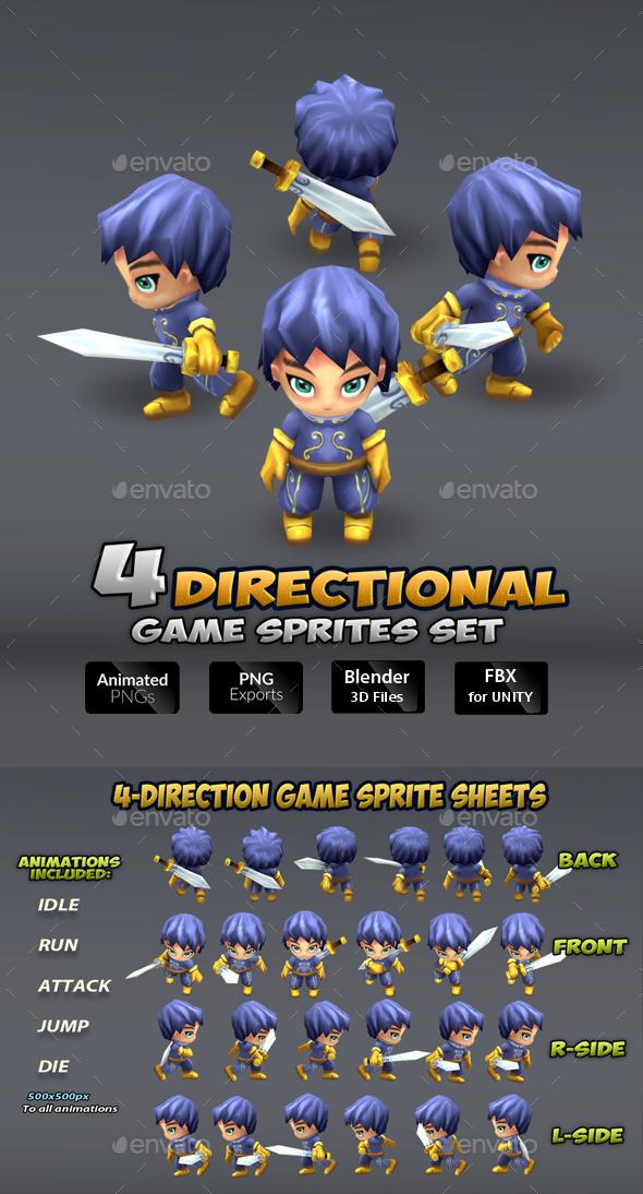 4- Directional Game Sprites Set - Sprites Game Assets