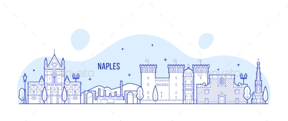 Naples Skyline, Italy City Buildings Vector - Buildings Objects