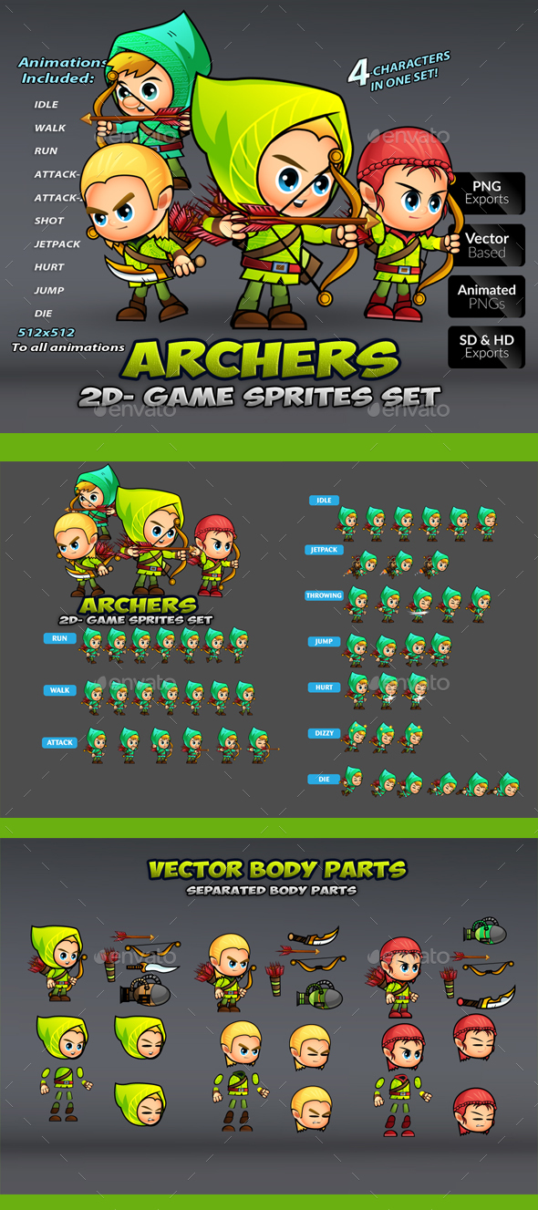 Arhers 2D Game Sprites Set - Sprites Game Assets