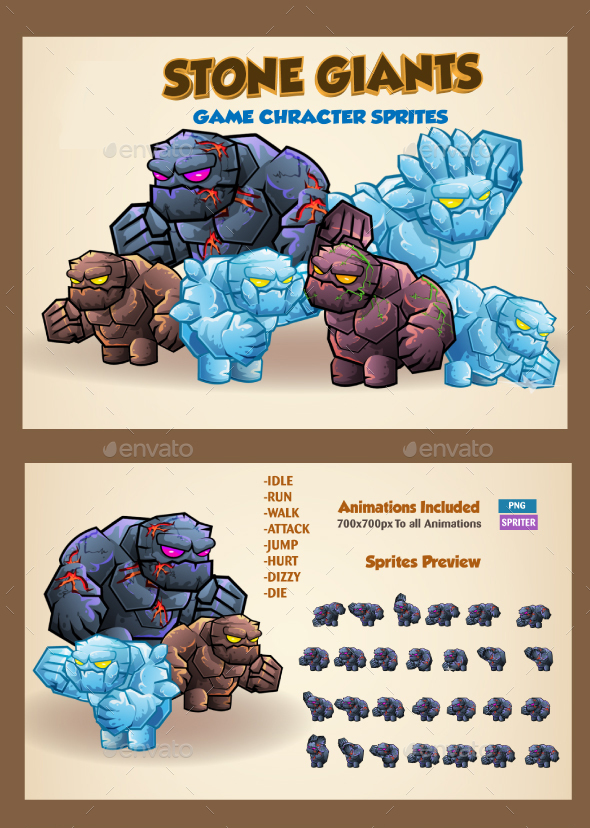 Stone Giants Game Character Sprites - Sprites Game Assets