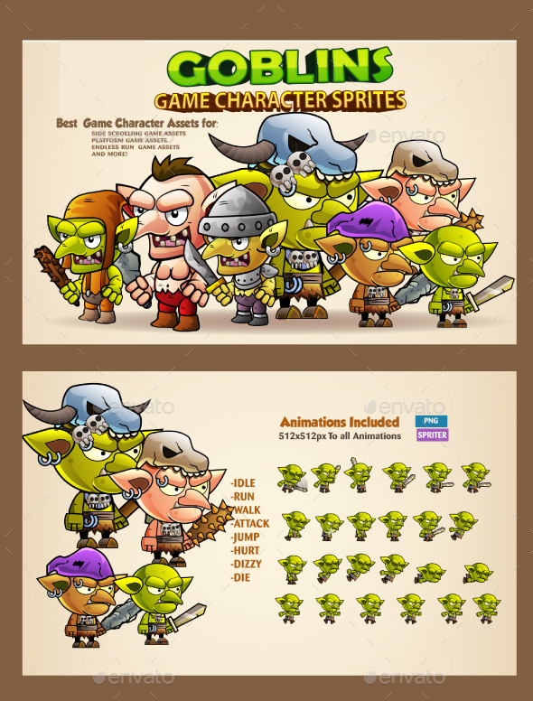 7 Goblins Game Character Sprites - Sprites Game Assets