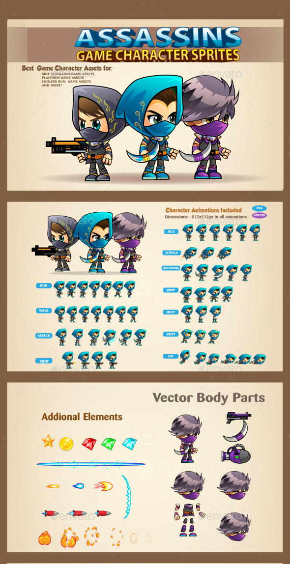 3 Assasins Game Character Sprites Sheets - Sprites Game Assets