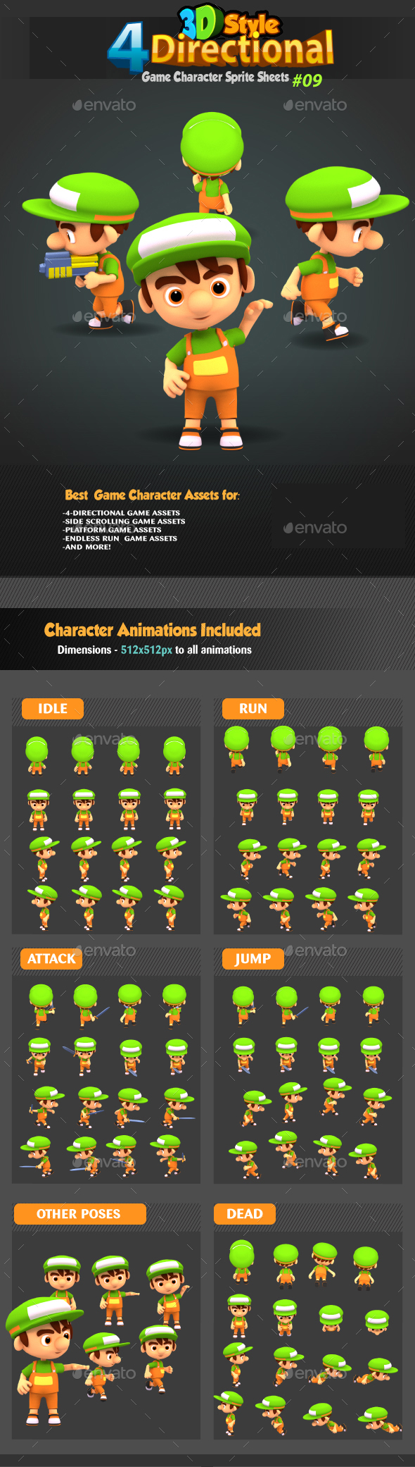 4 Directional 3D Style Game Character Sprites 09