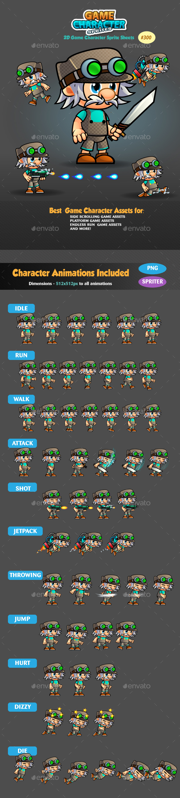 2D Game Character Sprites 300 - Sprites Game Assets
