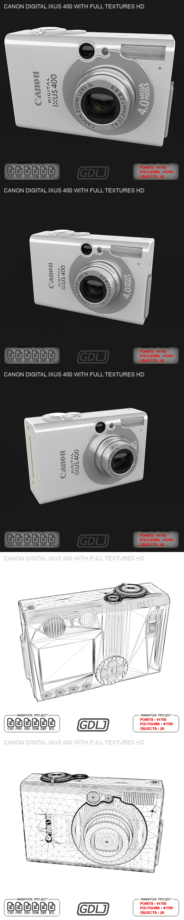 Canon Digital IXUS 400 with FULL Textures HD - 3DOcean Item for Sale
