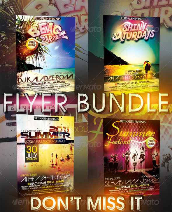 SUMMER FLYER BUNDLE - 4IN1 - Clubs & Parties Events