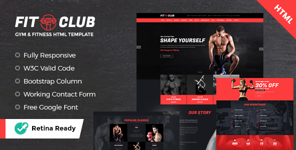 FITCLUB - Gym and Fitness Landing Page HTML