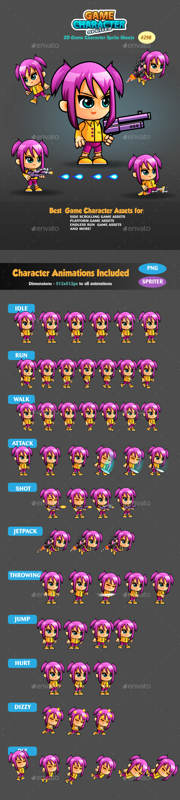 2D Game Character Sprites 298 - Sprites Game Assets