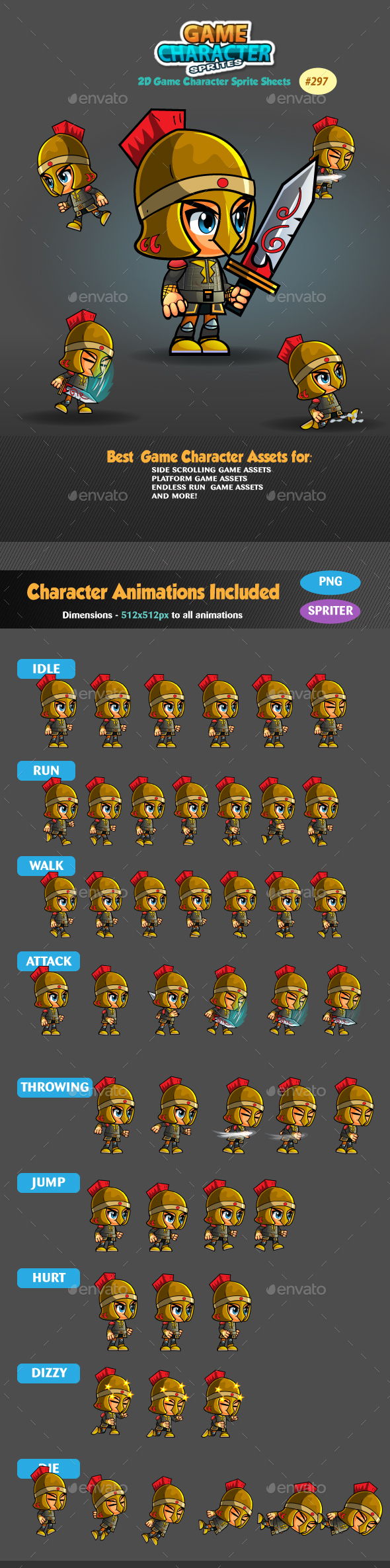 Knight 2D Game Character Sprites 297 - Sprites Game Assets