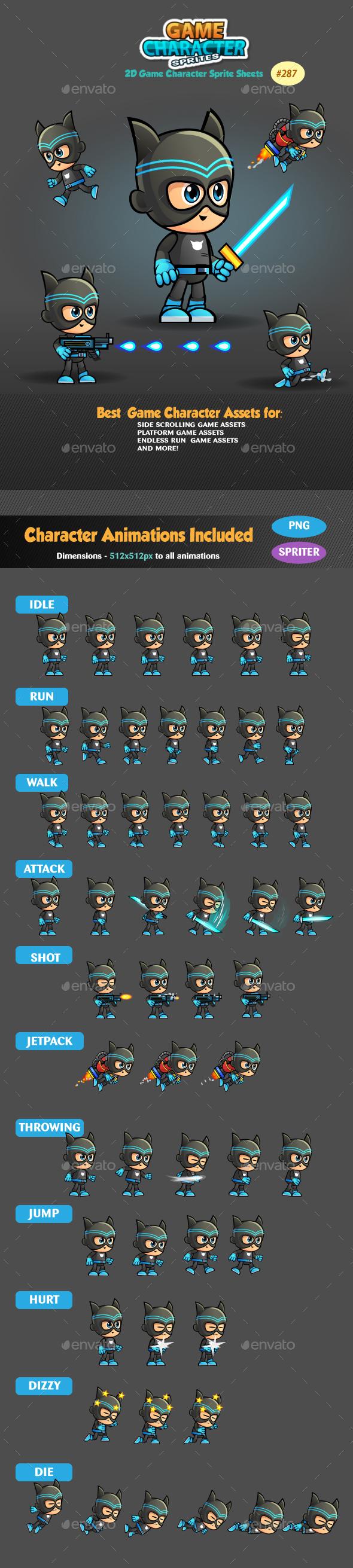 Super Hero 2D Game Character Sprites 287 - Sprites Game Assets