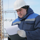 Engineer With Tablet at Electric Power Station - VideoHive Item for Sale