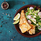 Fried white fish fillet and cucumber and radish salad. Top view - PhotoDune Item for Sale