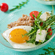 Healthy breakfast with egg, feta cheese, arugula, tomatoes  and buckwheat porridge - PhotoDune Item for Sale