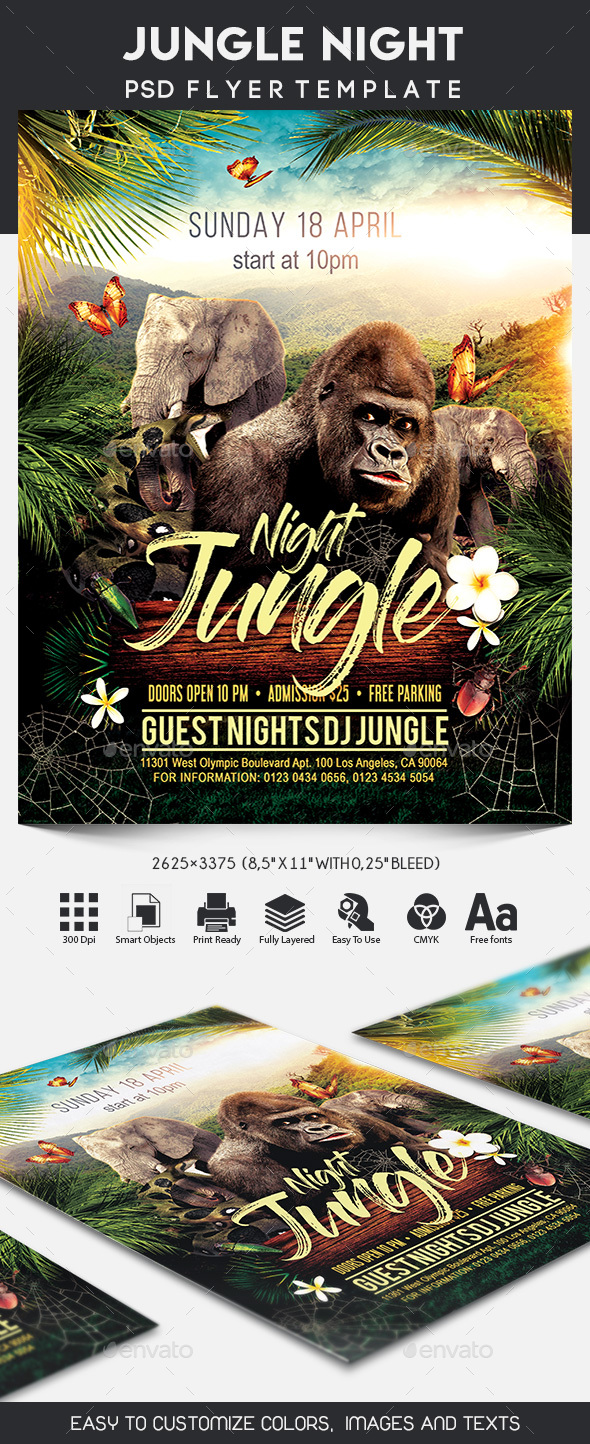 Jungle Night Flyer - Clubs & Parties Events