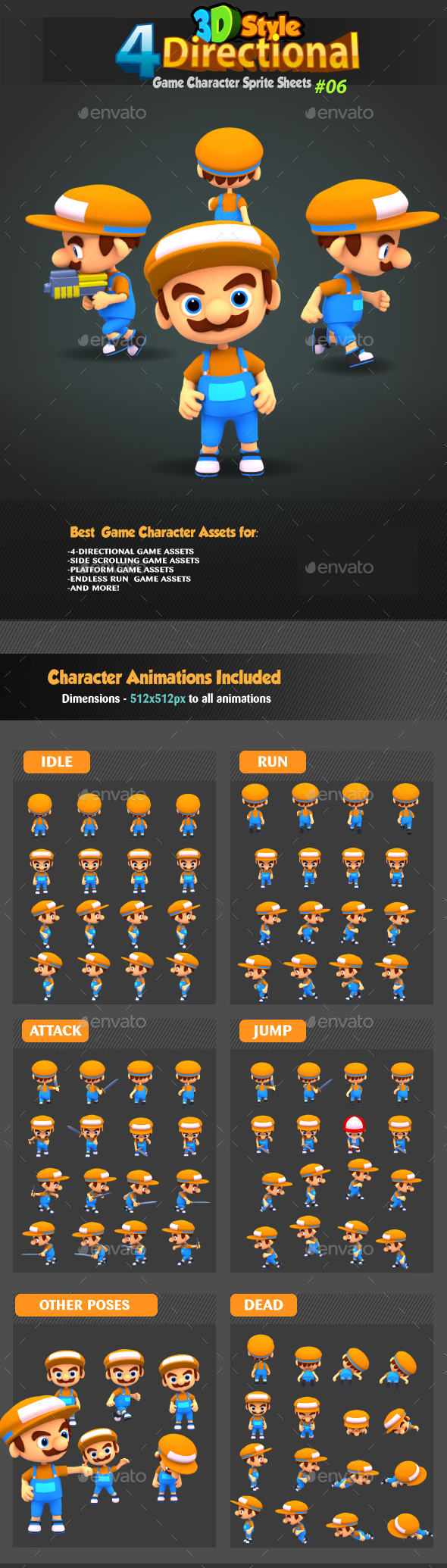 4 Directional 3D Style Game Character Sprites 06 - Sprites Game Assets