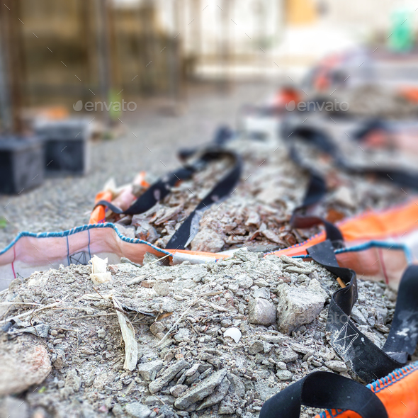 Full construction waste debris bags - Stock Photo - Images