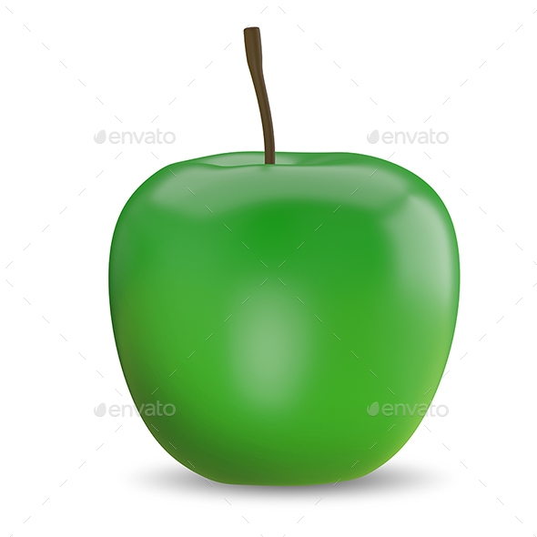 3D Illustration of a Green Apple - Objects 3D Renders