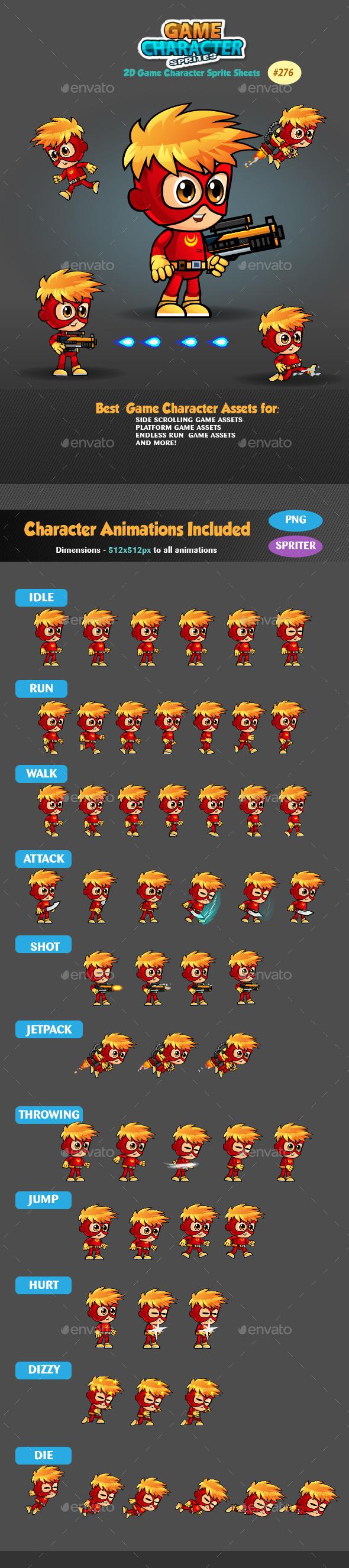 SuperBoy 2D Game Character Sprites 276 - Sprites Game Assets