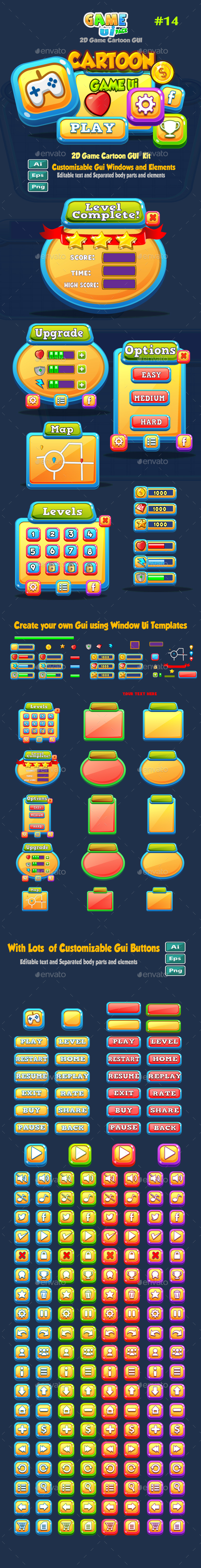 Cartoon Game UI Pack 14 - User Interfaces Game Assets