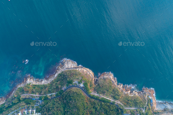 Aerial view of calm sea and coast landscape - Stock Photo - Images