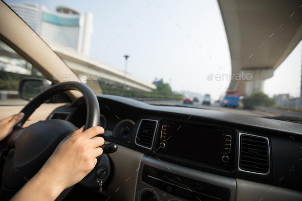 Driving in air pollution city - Stock Photo - Images