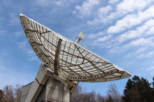 Radio telescope focus to the sky - Stock Photo - Images