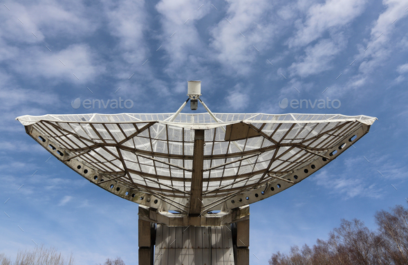 Radio telescope focus to the sky - Stock Photo - Images