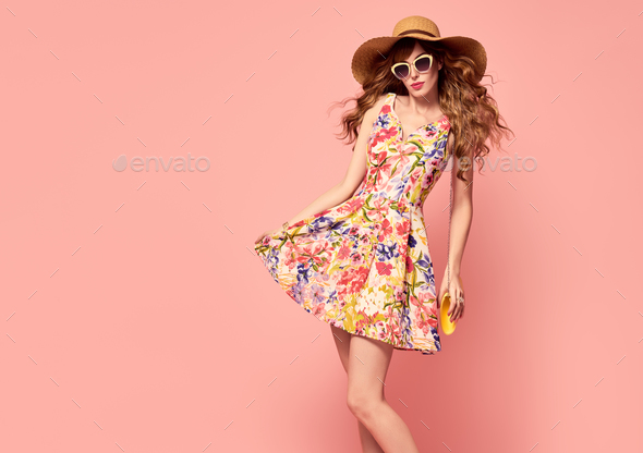 Beautiful Lady in Floral Dress. Vintage. Hairstyle - Stock Photo - Images