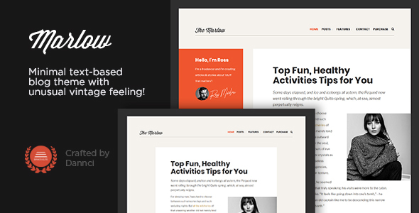 marlow - distinctive, typography-first wordpress blog theme (personal) Marlow – Distinctive, Typography-First WordPress Blog Theme (Personal) 01 cover