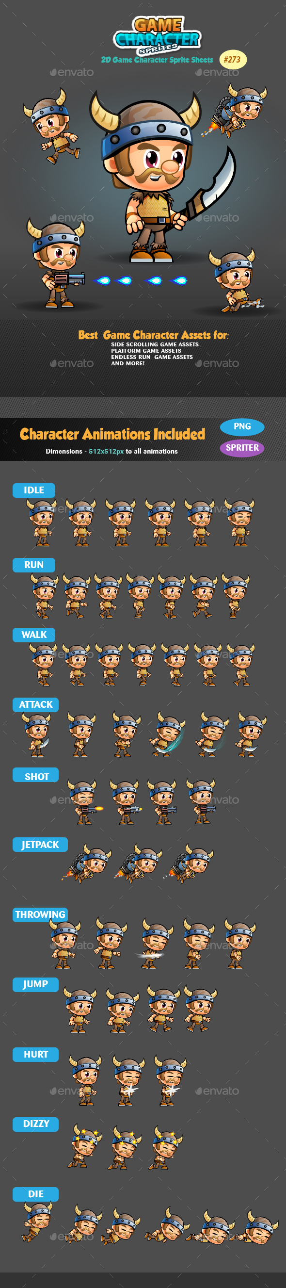Viking 2D Game Character Sprites 273 - Sprites Game Assets