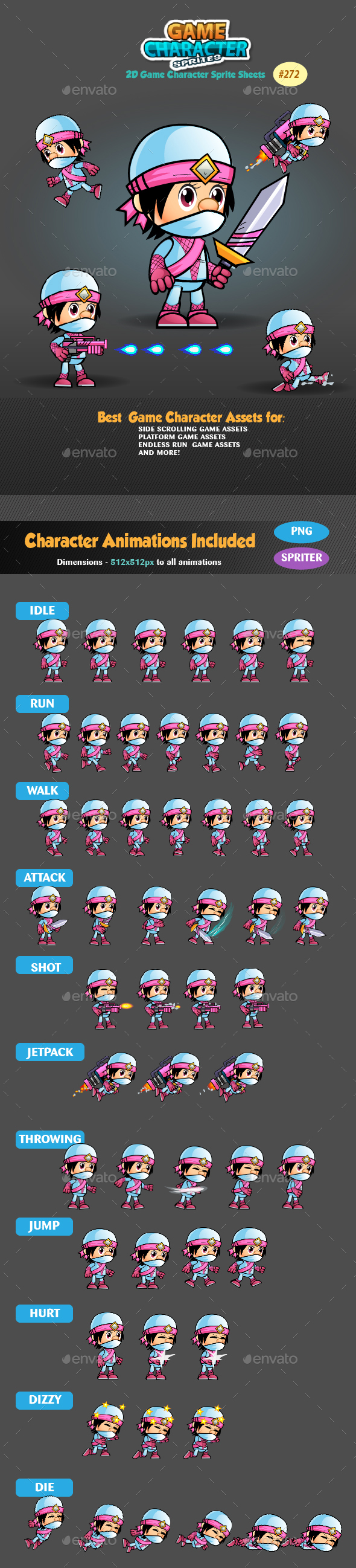 White Girl Ninja  2D Game Character Sprites 272 - Sprites Game Assets