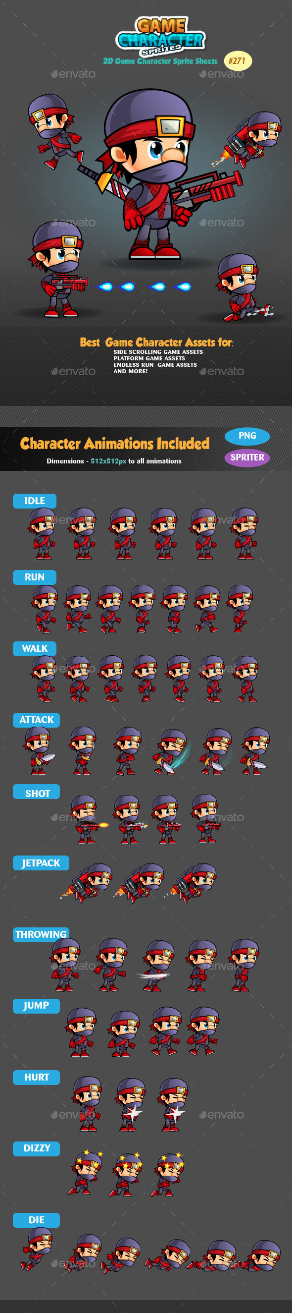 Ninja 2D Game Character Sprites 271 - Sprites Game Assets