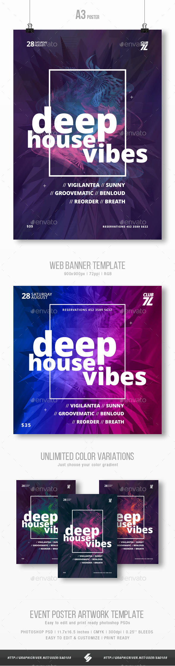 Deep House Vibes - Party Flyer / Poster Template A3 - Clubs & Parties Events