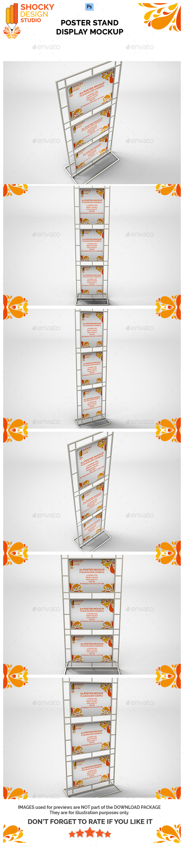 Poster Stand Display Mockup - Posters Print