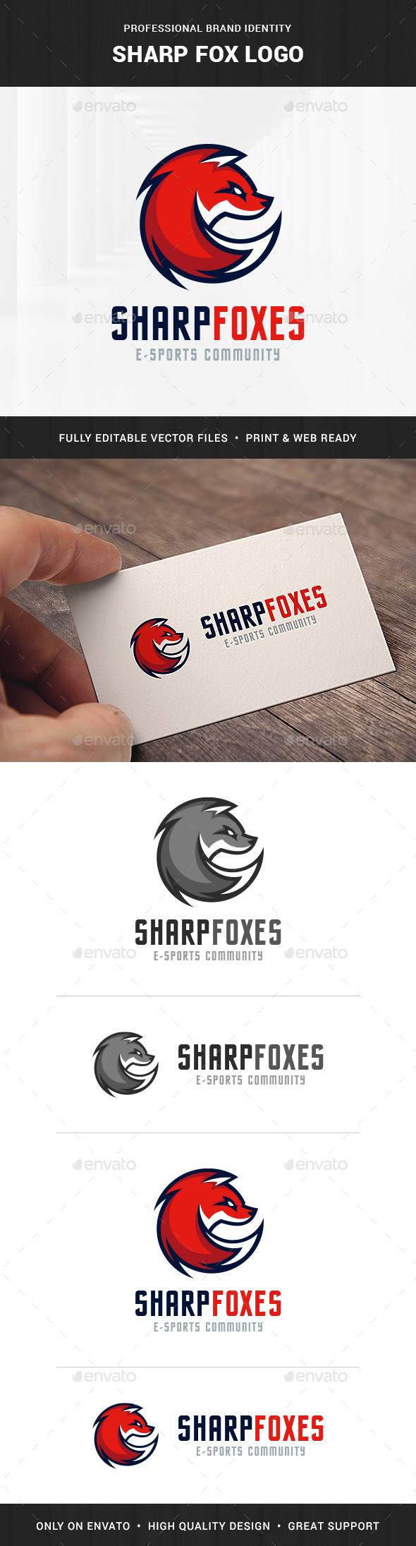 Sharp Fox Logo Template - Animals Logo Templates