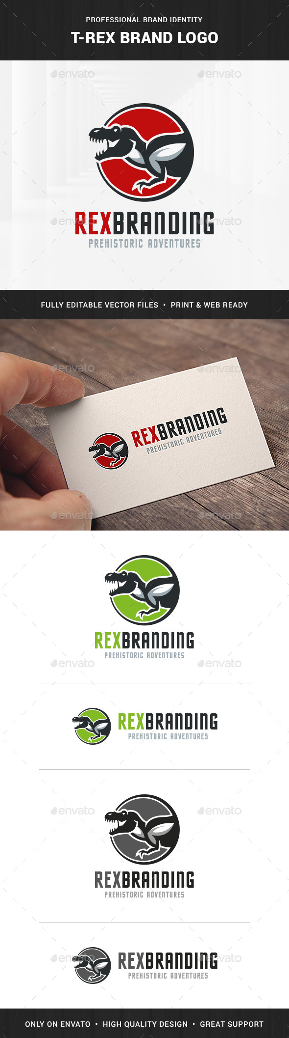T-Rex Brand Logo Template - Animals Logo Templates