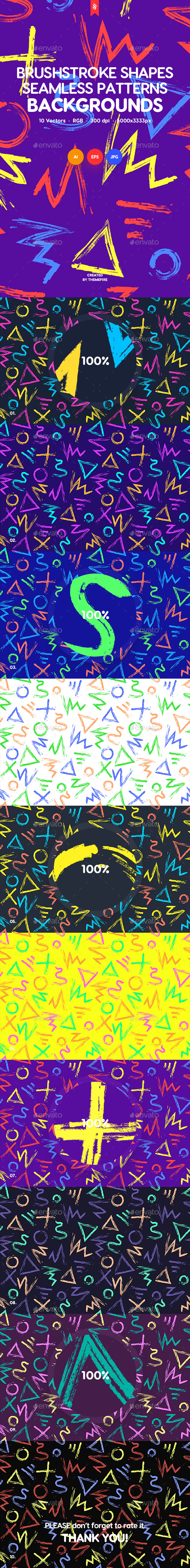 Colorful Hand-Drawn Brushstroke Shapes Seamless Patterns / Backgrounds - Patterns Backgrounds