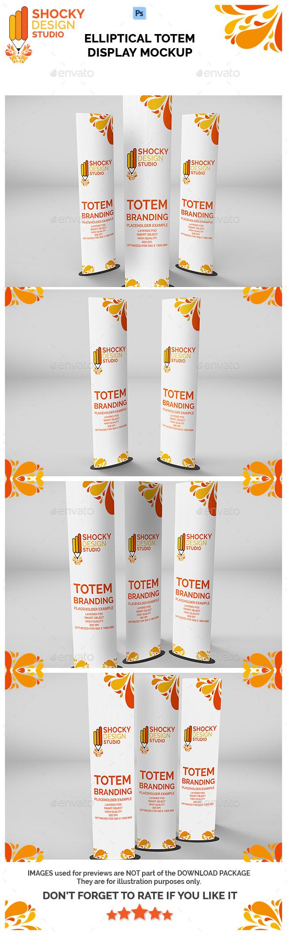 Elliptical Totem Display Mockup - Product Mock-Ups Graphics