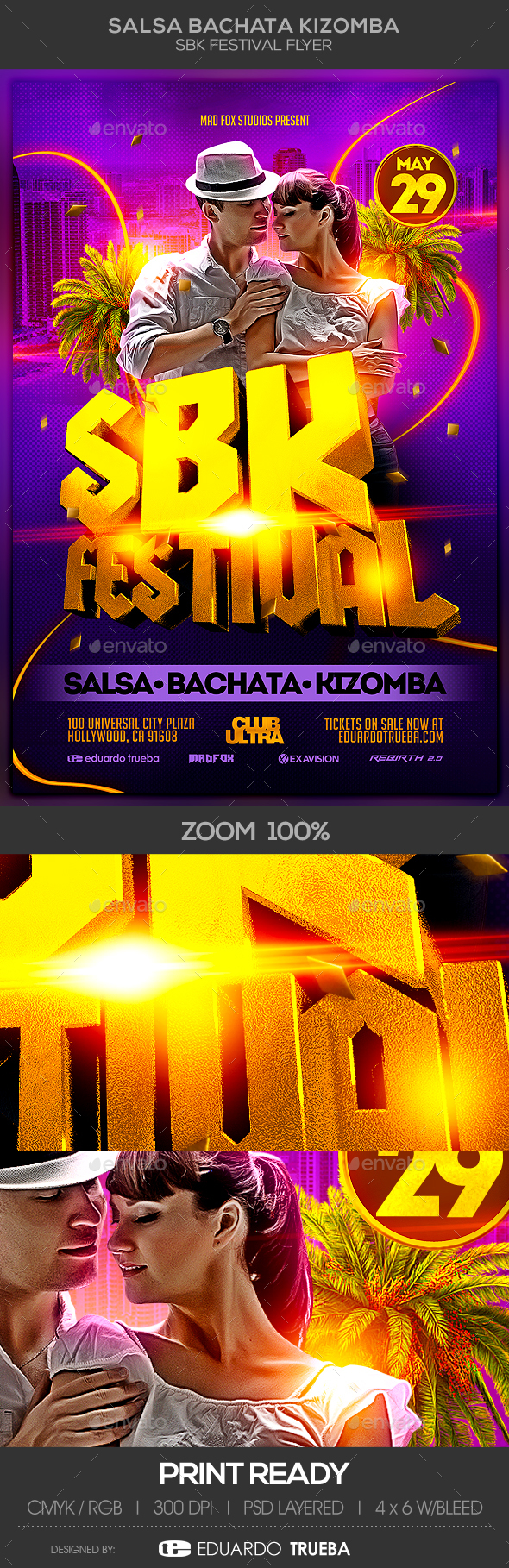 Salsa Bachata Kizomba SBK Festival Party Flyer - Clubs & Parties Events