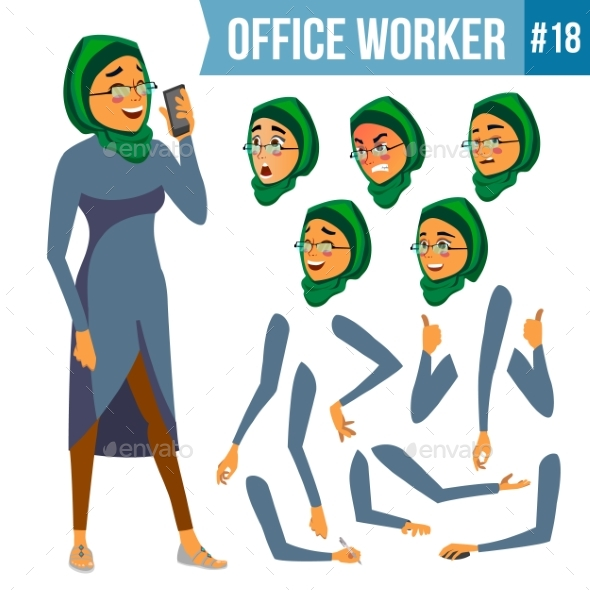 Office Worker Vector. Woman. Smiling Servant - Business Conceptual
