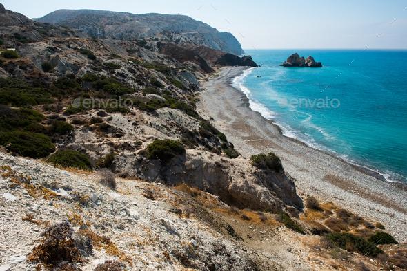 Aphrodite's rock. Rocky coastline on the Mediterranean sea in Cyprus. Petra tou Roumiou - Stock Photo - Images