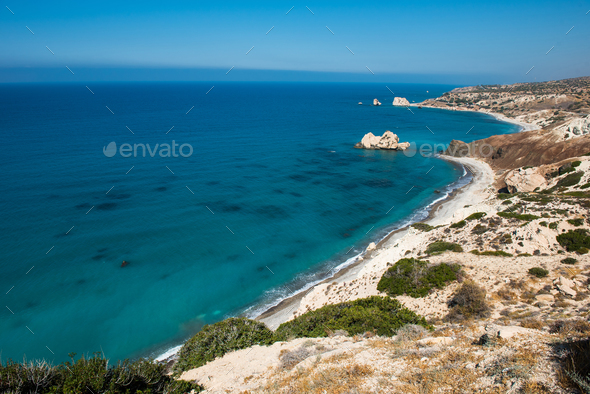 Rocky coastline on the Mediterranean sea in Cyprus. Petra tou Roumiou - Stock Photo - Images