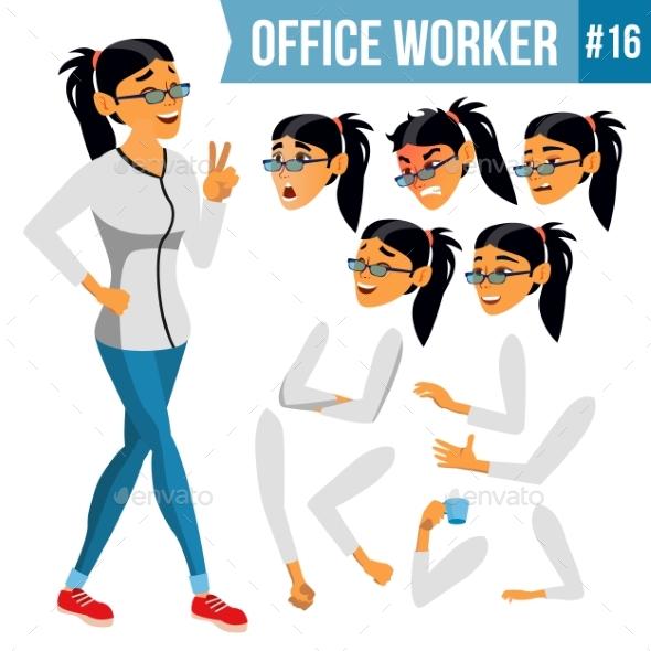 Office Worker Vector. Woman. Modern Employee - Business Conceptual