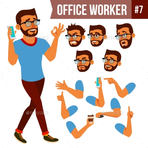 Office Worker Vector. Face Emotions, Various - Business Conceptual