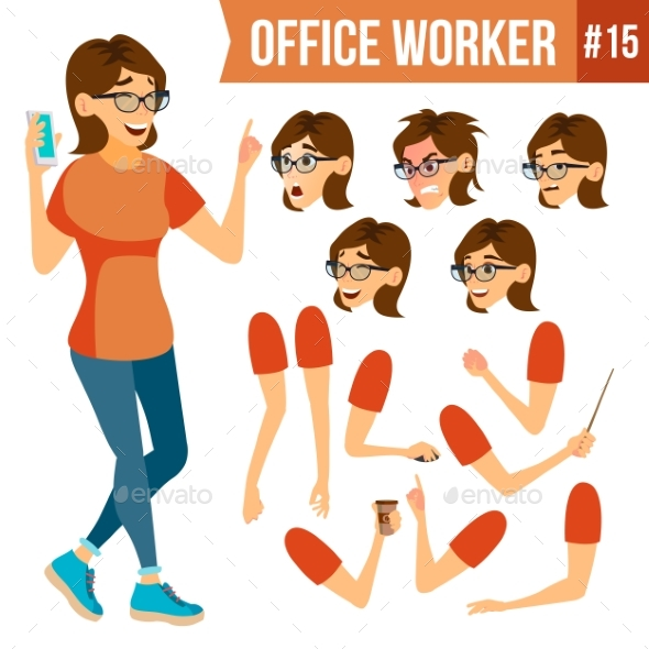 Office Worker Vector.Woman. Successful Officer - Business Conceptual