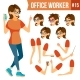Office Worker Vector.Woman. Successful Officer