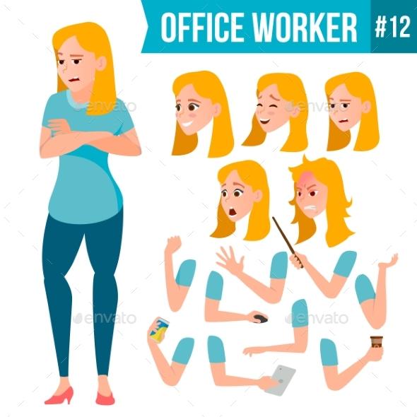 Office Worker Vector. Woman. Happy Clerk, Servant - Business Conceptual