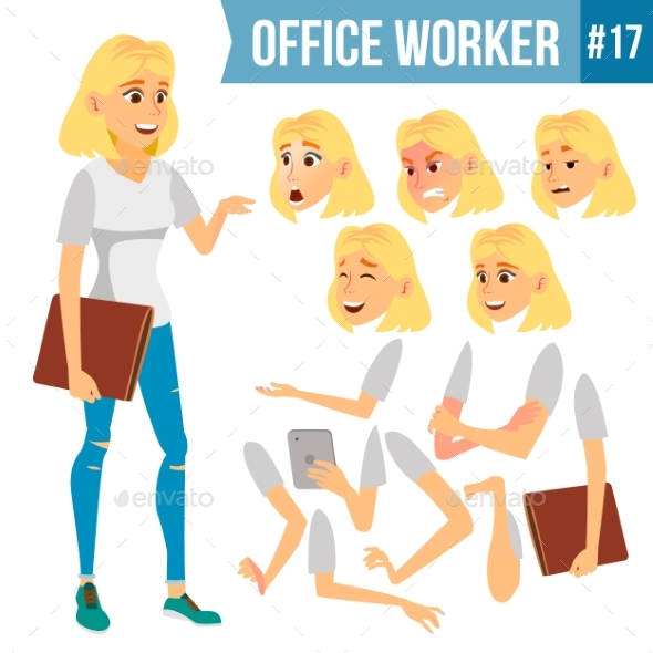 Office Worker Vector. Woman. Successful Officer - Business Conceptual