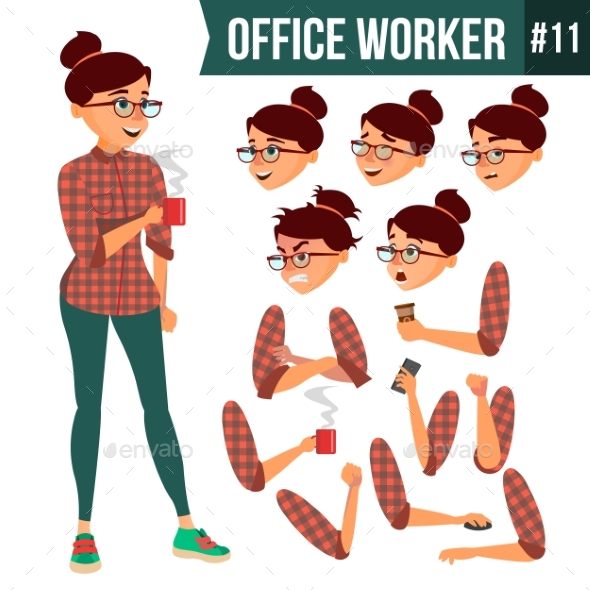 Office Worker Vector. Woman. Professional Officer - Business Conceptual